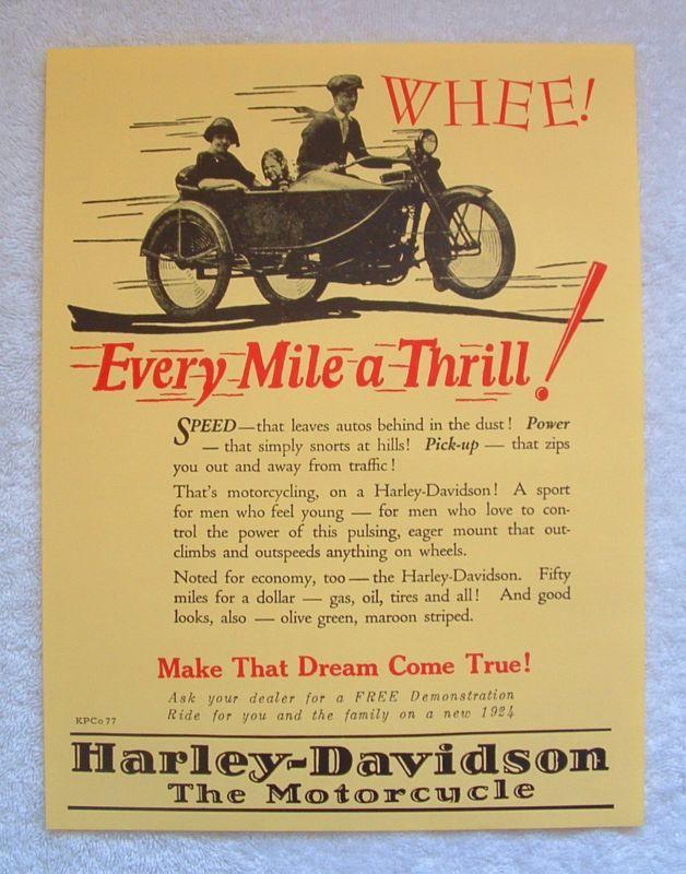 Vintage Harley Davidson Motorcycle 1924 Poster Sign Wow Vintage Harley Davidson Motorcycles Harley Davidson Vintage Harley Davidson