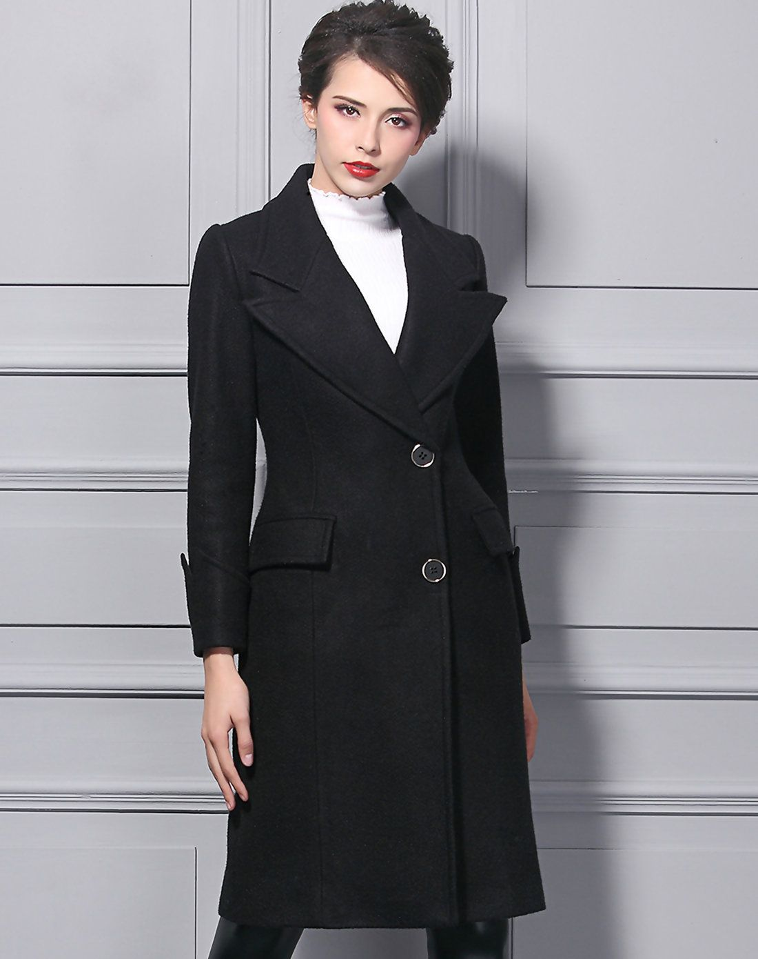 #AdoreWe BAOYAN Solid Black Woollen Turndown Collar Shift Long Coat - AdoreWe.com
