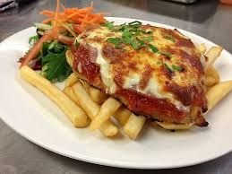 Chicken Parmi & Chips. Class Pub Food - http://www.dailytelegraph.com.au/lifestyle/food/classic-pub-grub-chicken-parmigiana/story-fnivsvri-1227033285353