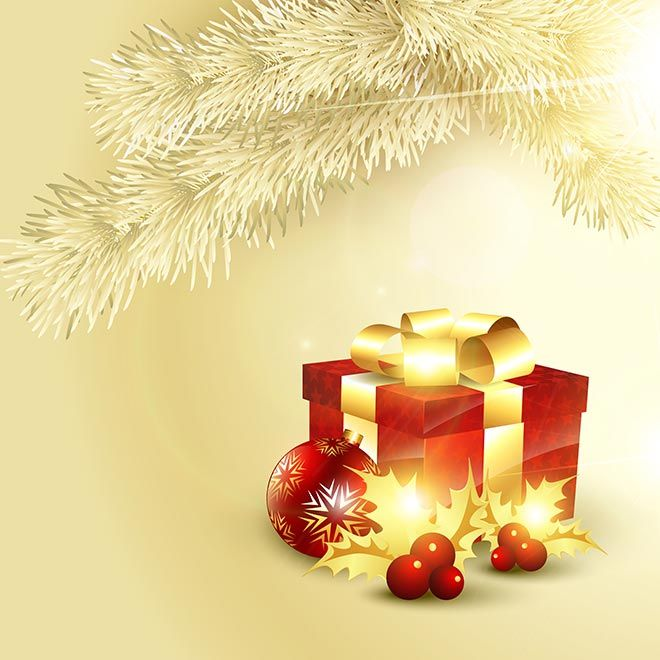Free vector illustration of 3d box with snowflake ball Merry - christmas theme background