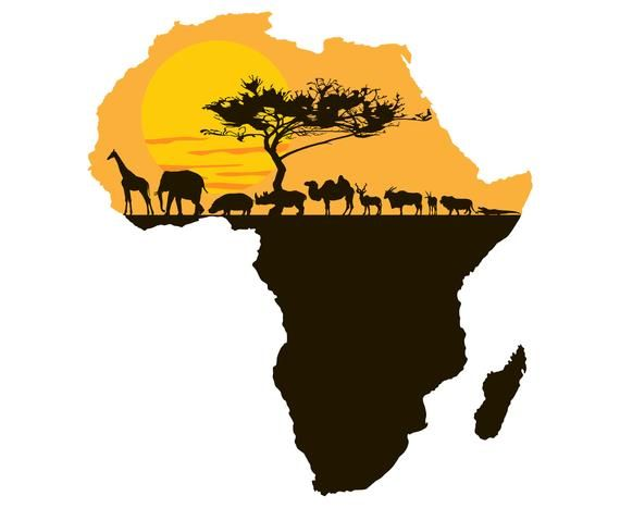 Africa, Continent, Landscape, African, Art, Silhouette,SVG