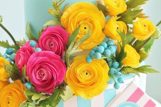 {Flamboyant pink & yellow Ranunuculus by Alex Narramore (The Mischief Maker)}