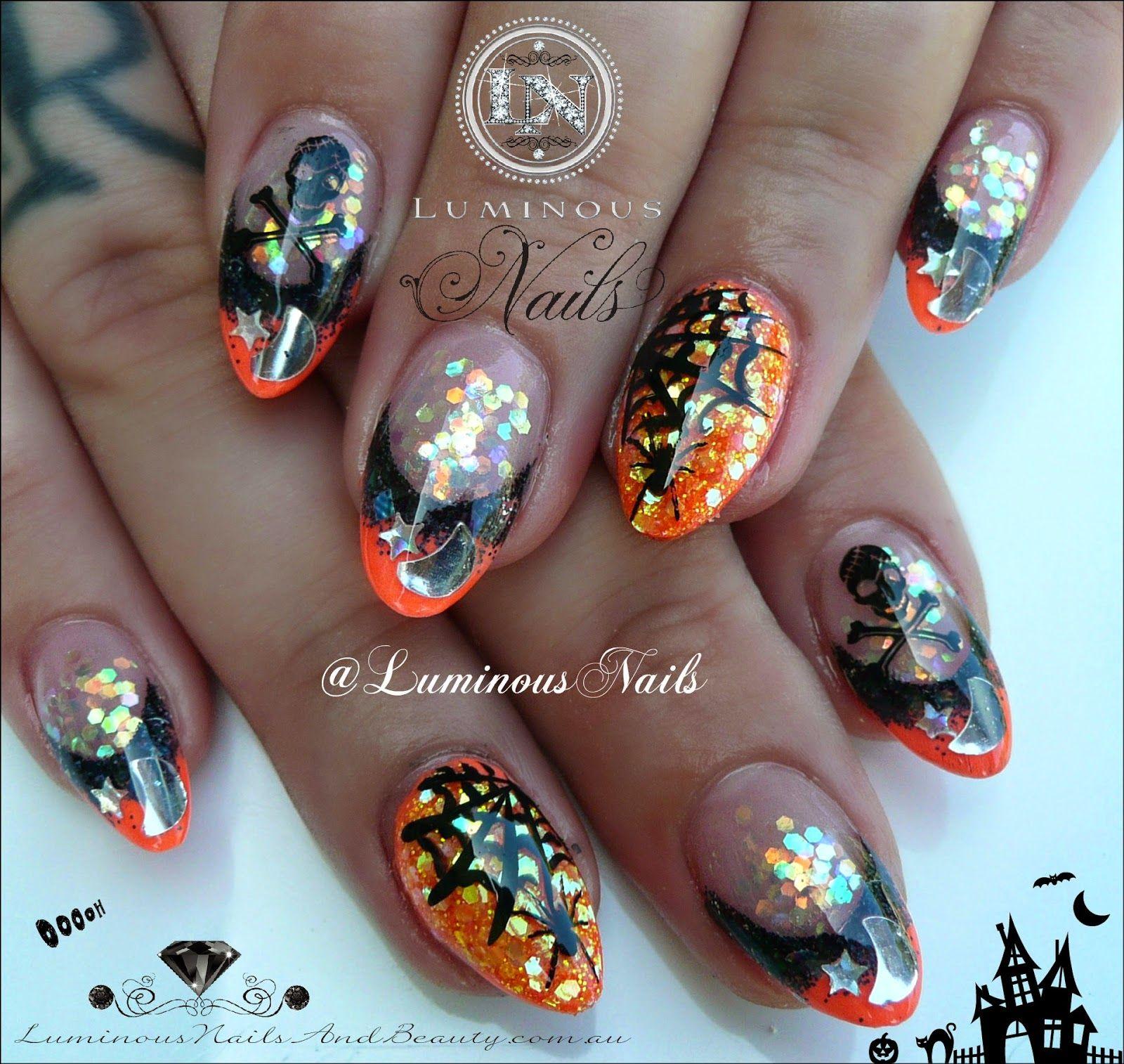 Luminous Nails | Halloween acrylic nails, Orange acrylic ...