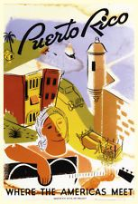 Vintage Puerto Rico Travel Poster, Where Americas Meet