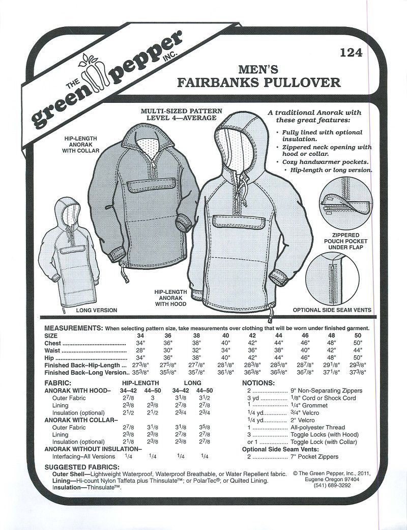 Men\'s Fairbanks Pullover Sewing Pattern (Sold per Each) | Pinterest ...