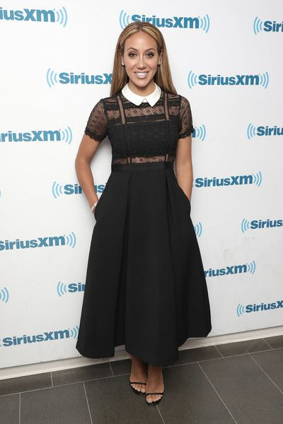 363ec2fc4a Melissa Gorga Little Black Dress - Melissa Gorga looked adorably chic in a  lace-bodice LBD with a contrast collar while visiting SiriusXM.