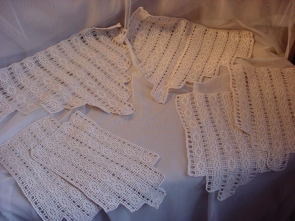 Antique Vintage Antimacassar Chair Doily Sets For 2 Chairs Crocheted