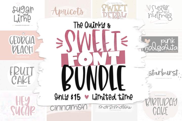 The Sweet Font Bundle 14 Fun & Quirky Fonts Cute fonts