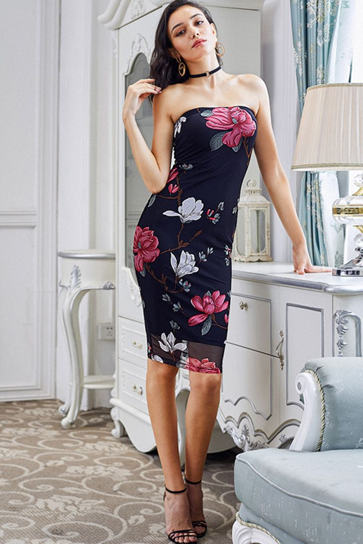 7c2f9945a41 COLROVIE Floral Bodycon Bandeau Dress 2017 Sexy Strapless Women Elegant  Summer Party Dresses Fashion New Midi