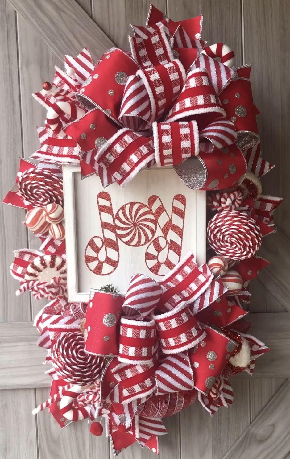 Photo of Joy Candy Cane Christmas Wreath