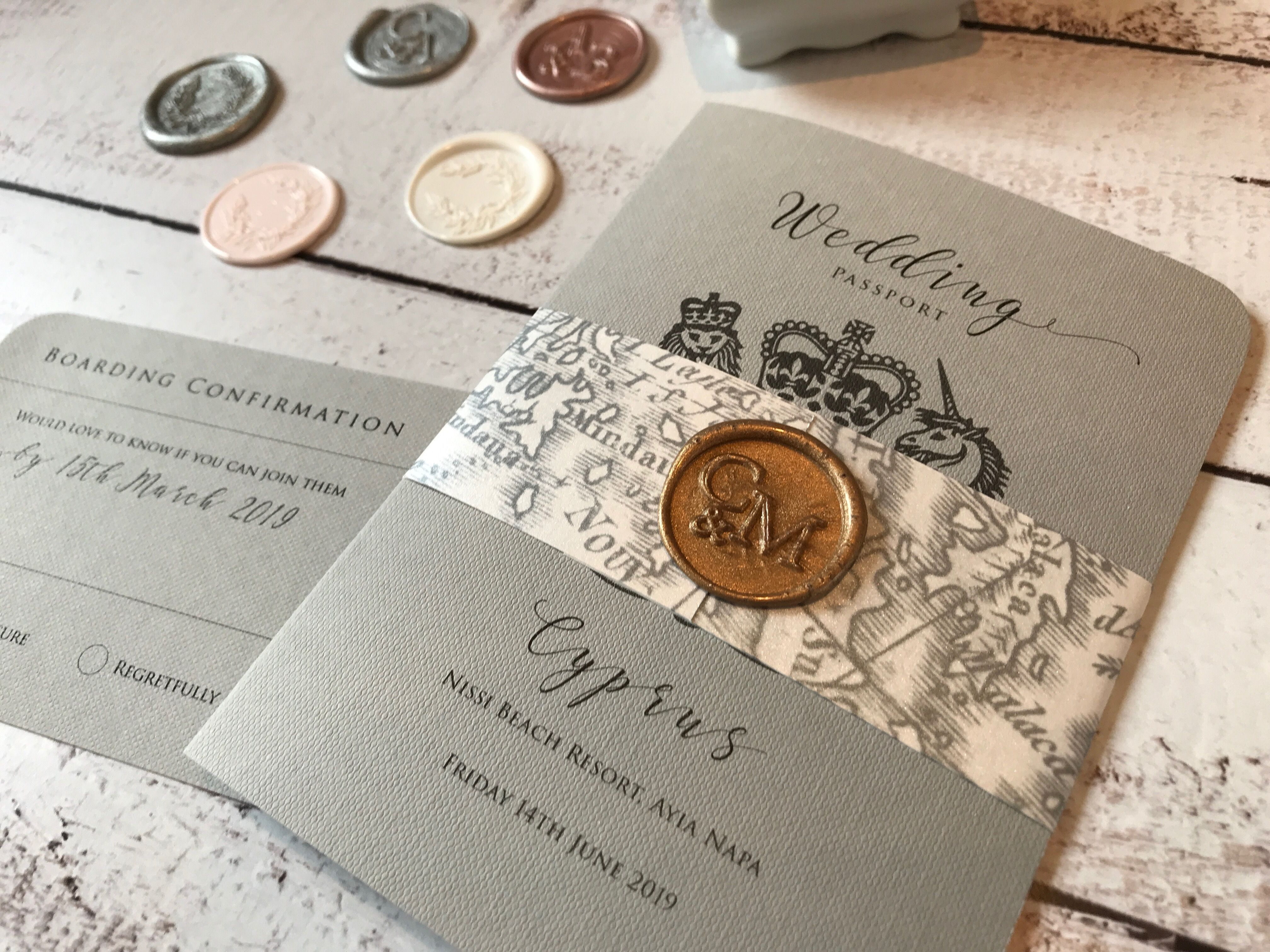 Wedding Passport Invitation Grey Passport Map Belly Band And Gold Wax Seal Loving Gold Wedding Invitations Wedding Invitations Passport Wedding Invitations