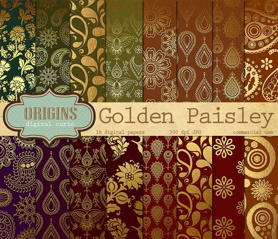 Paisley Digital Paper Gold Boteh Sari Patterns Backgrounds Indian Mehndi Digital Paper Henna Paisley Arabic Floral Motif Backgrounds Digital Scrapbook Paper Paper Pattern Paper