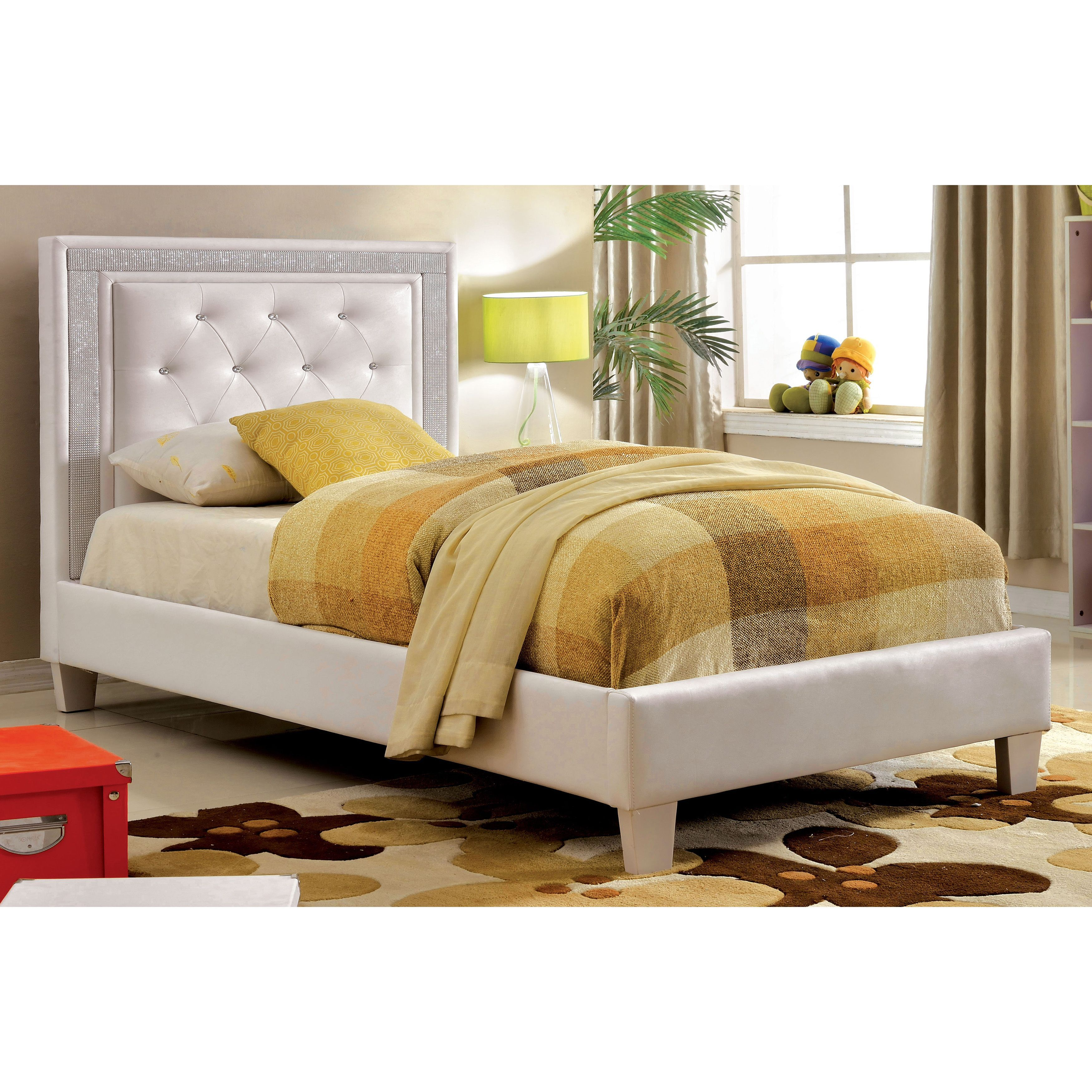 Furniture Of America Sheila Contemporary Tufted Leatherette Full Size  Platform Bed