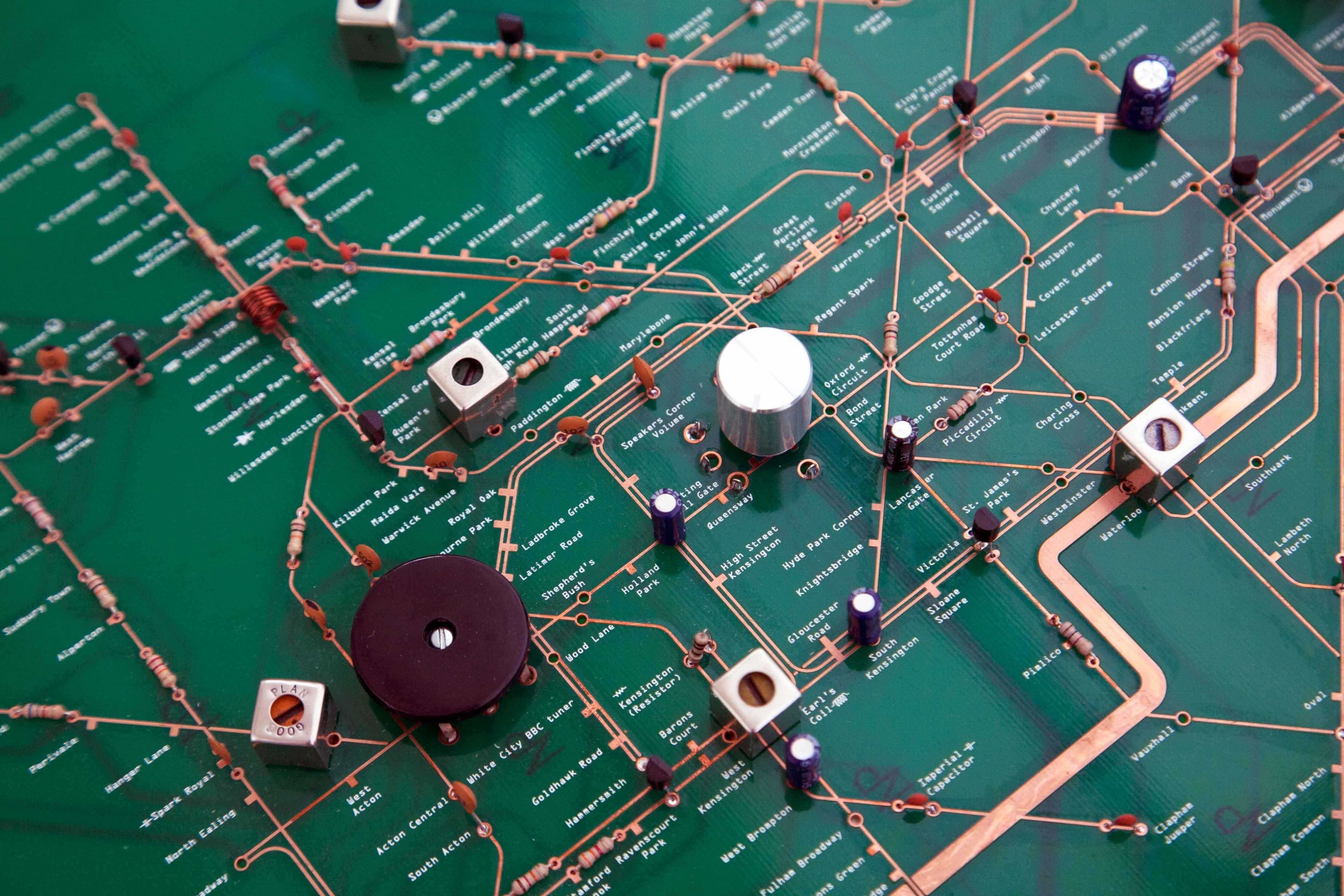 Circuito Impreso : Mapa del metro de londres sobre un circuito impreso neogeography