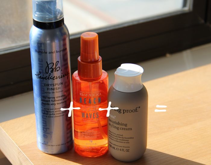 Bumble and bumble's Thickening Dry Spun Finish Spray (left), Alterna's Bamboo Beach Ocean Waves (middle) and Living Proof's No Frizz Nourish...