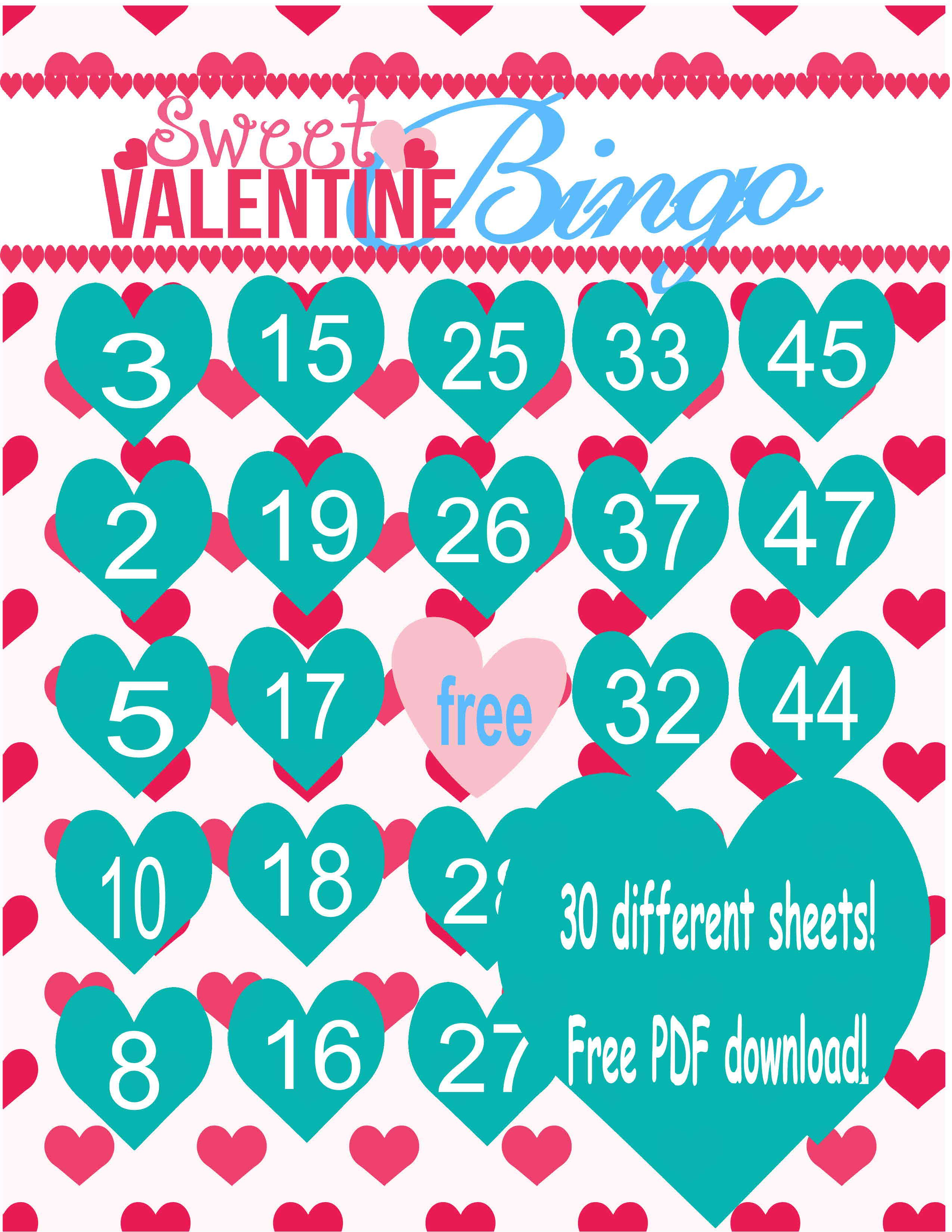 free pdf valentines day bingo game for 30 kids create a colorful life - Valentine Bingo Cards