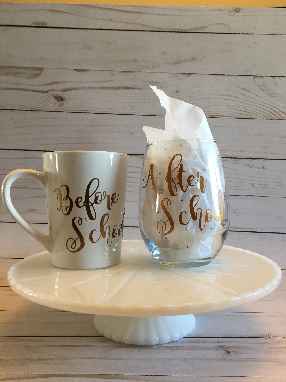 Teacher Mug and Wine Glass Set / Gift Set/ Before School