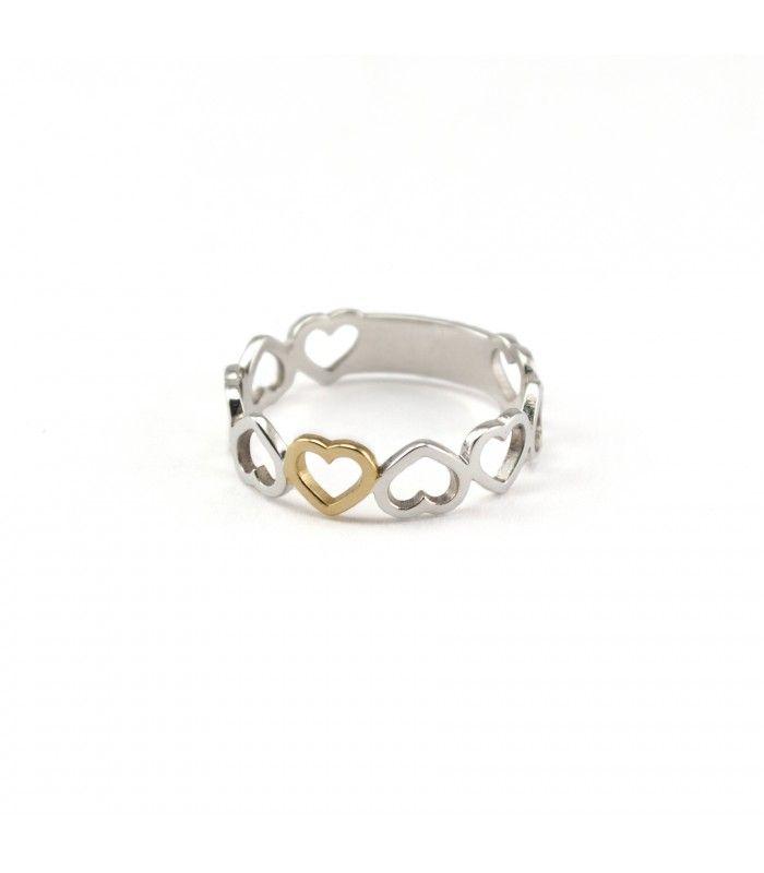 El anillo Love realizado en plata Bicolor. Sencillo pero moderno, combinable con cualquier cosa, de día o de noche. #anillo #ring #joyas #jewelry #plata #silver