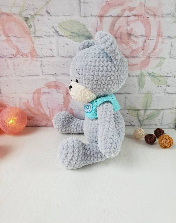 Crochet teddy bear, knitted plush personalized bear, stuffed teddy bear, teddy bear softie, amigurumi teddy bear, gift for baby #babyteddybear
