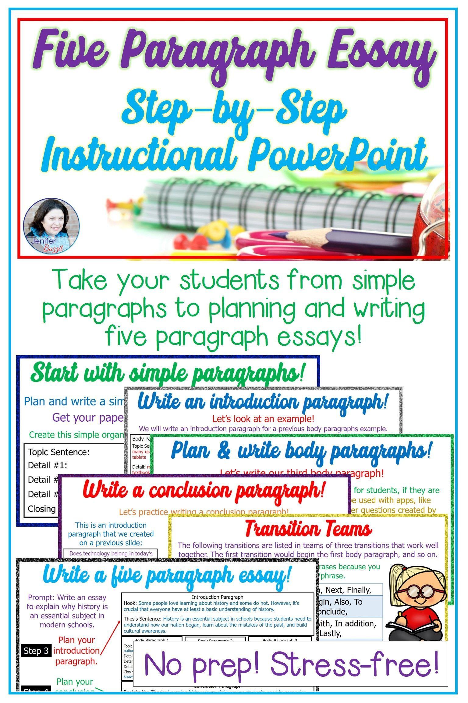 Five Paragraph Essay PowerPoint  Paragraph essay, Writing