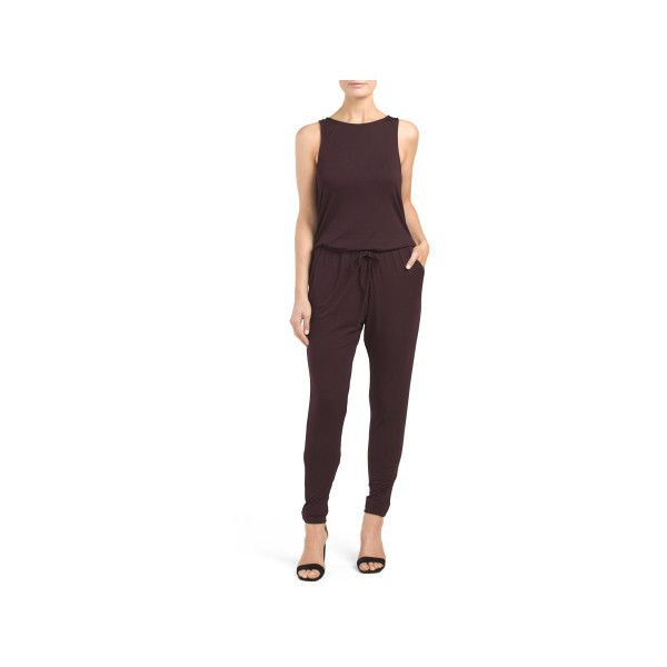 Juniors Langston Sleeveless Jumpsuit ($15) ❤ liked on Polyvore featuring jumpsuits, sleeveless jumpsuit, jump suit and long jumpsuits