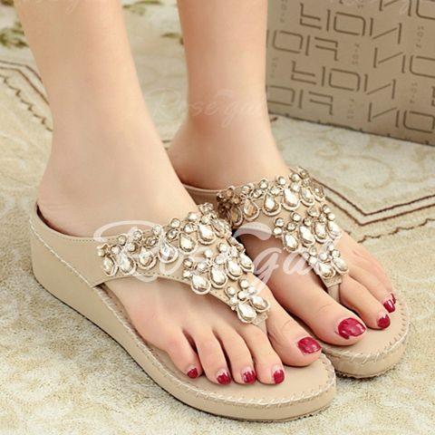 Trendy Flip-Flop and Rhinestones Design Women's Slippers