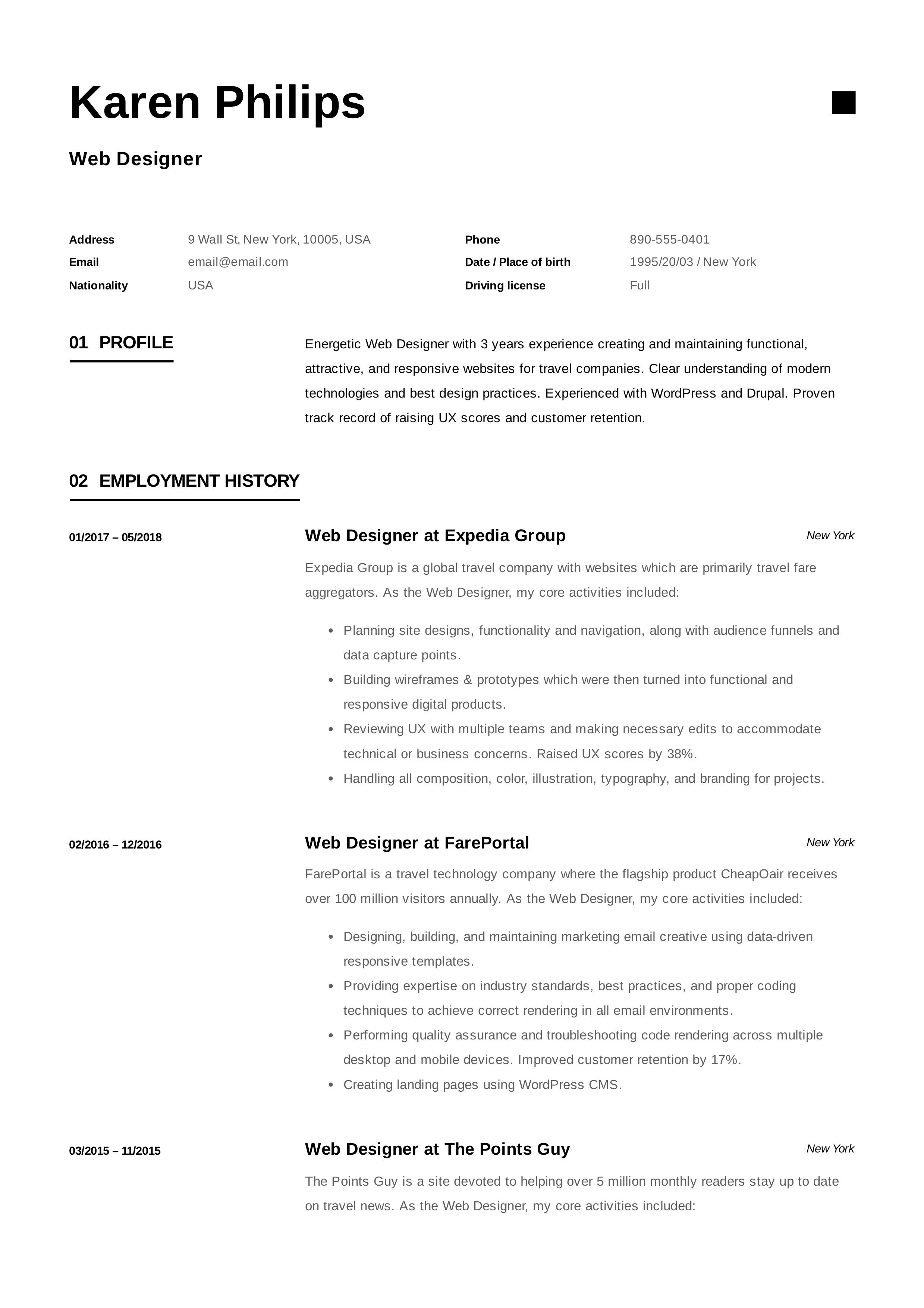12 Free Web Designer Resume Examples Office manager