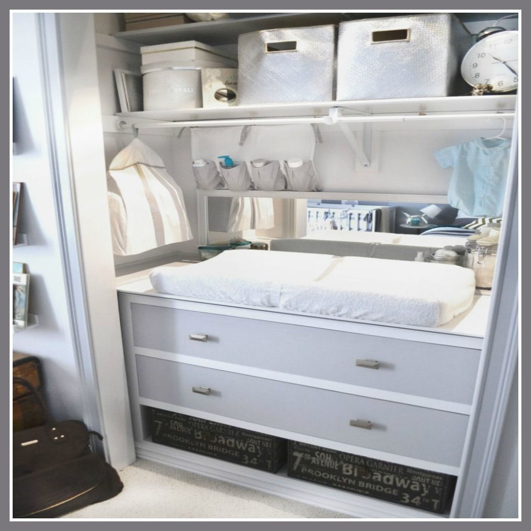 Limited space? We love how this closet was converted to a changing space for baby!  #DIY #organizing