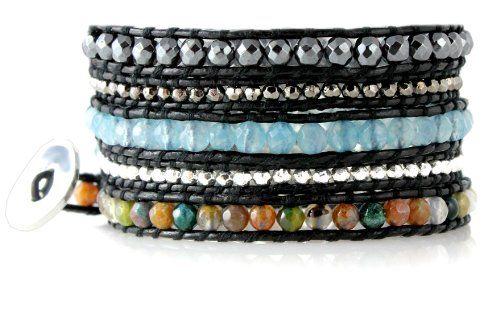 "Exotic ""Marrakech"" Blue Amazonite, Hematite and Agate Gemstone Bracelet on Genuine Leather, Extra Long 5x Wrap Bracelet (bestseller)"