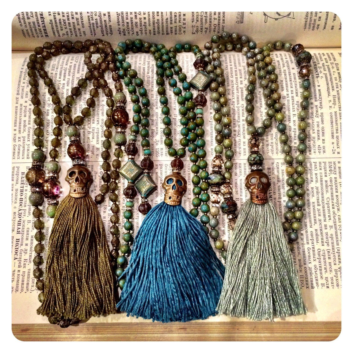 A personal favorite from my Etsy shop https://www.etsy.com/listing/227253414/mala-style-skull-tassel-necklace