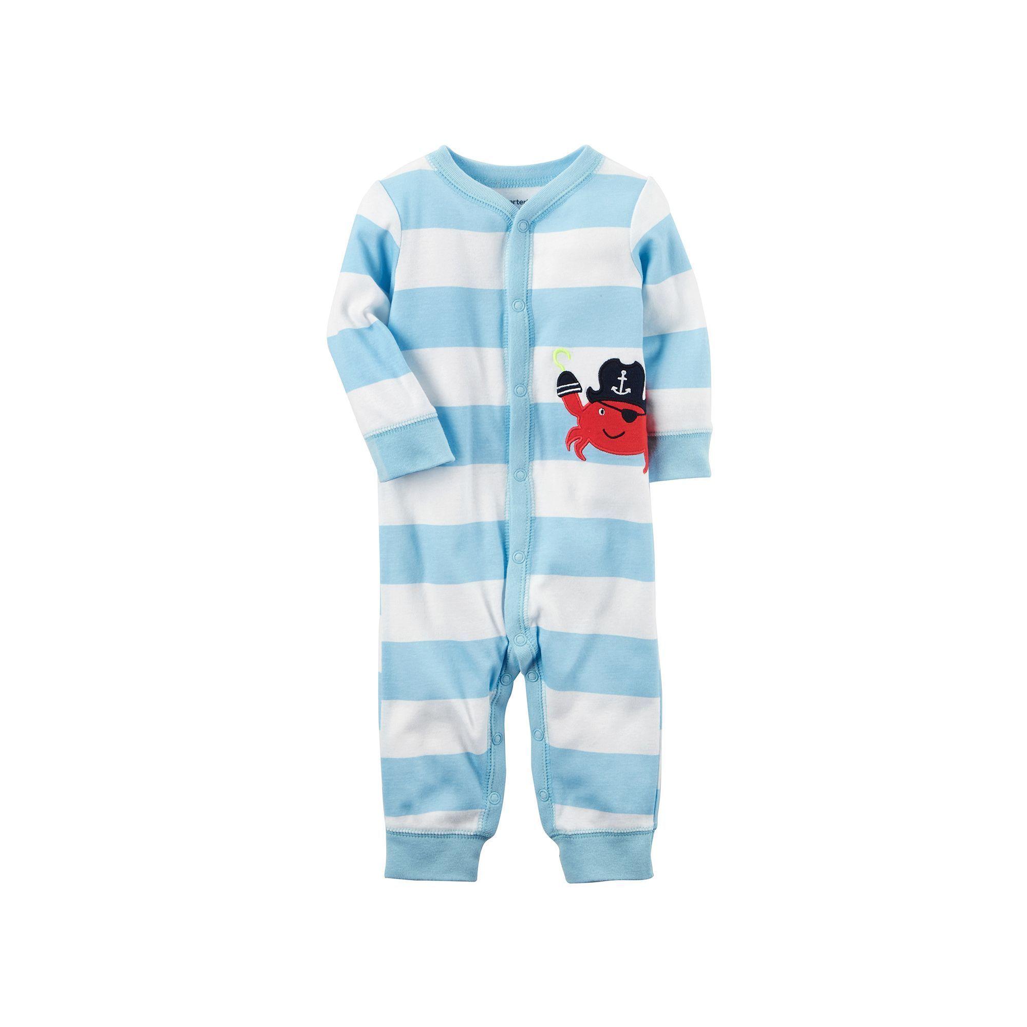 Baby Boy Carter s Striped Pirate Crab e Piece Pajamas Size