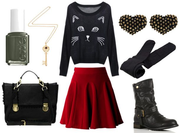 how to wear a black skater skirt