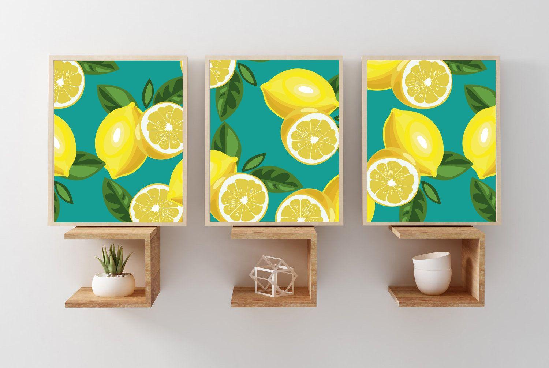 Lemon Wall Art Print Teal Lemon Art Prints Or Canvas Set Of Etsy Wall Art Prints Lemon Art Flower Prints Art