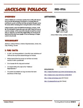 this is a wonderful worksheet with information about the artist jackson pollock it has an. Black Bedroom Furniture Sets. Home Design Ideas