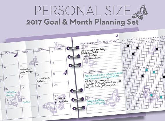 Printable month \ goal 2017 planner - Filofax PERSONAL   COMPACT - project planning
