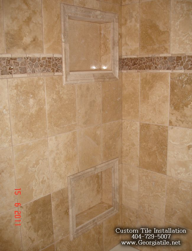 Travertine shower pictures tub shower travertine shower for Travertine tile bathroom gallery