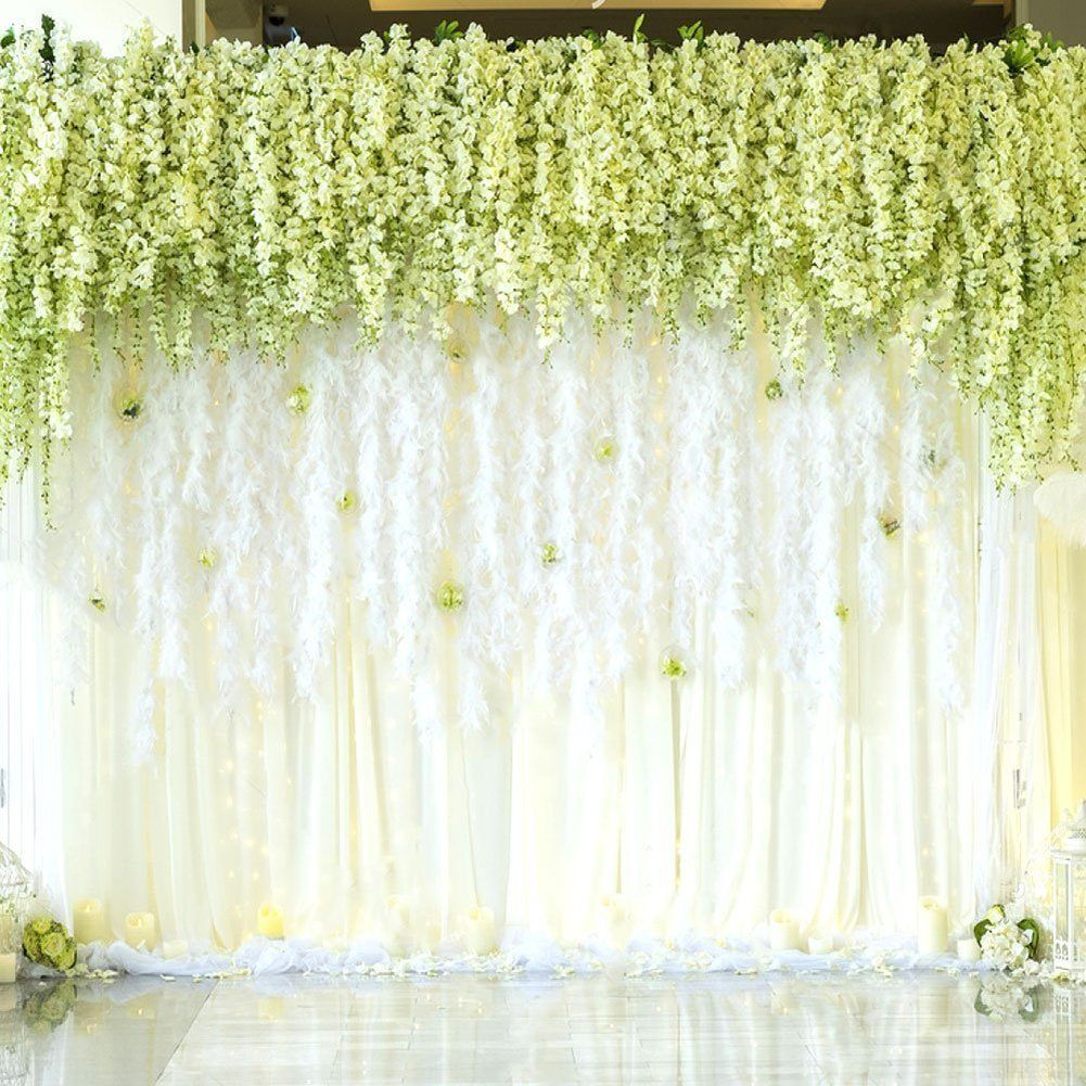 Amazon mavee 12 piece 36 feet artificial silk wisteria vine amazon mavee 12 piece 36 feet artificial silk wisteria vine ratta hanging flower mightylinksfo Images