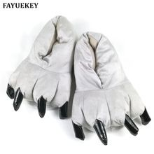 Photo of FAYUEKEY Winter Home Warm Paw Plush Slippers Thermal Cotton Soft Funny Animal Christmas Monster Claw Slippers IndoorFloor Shoes