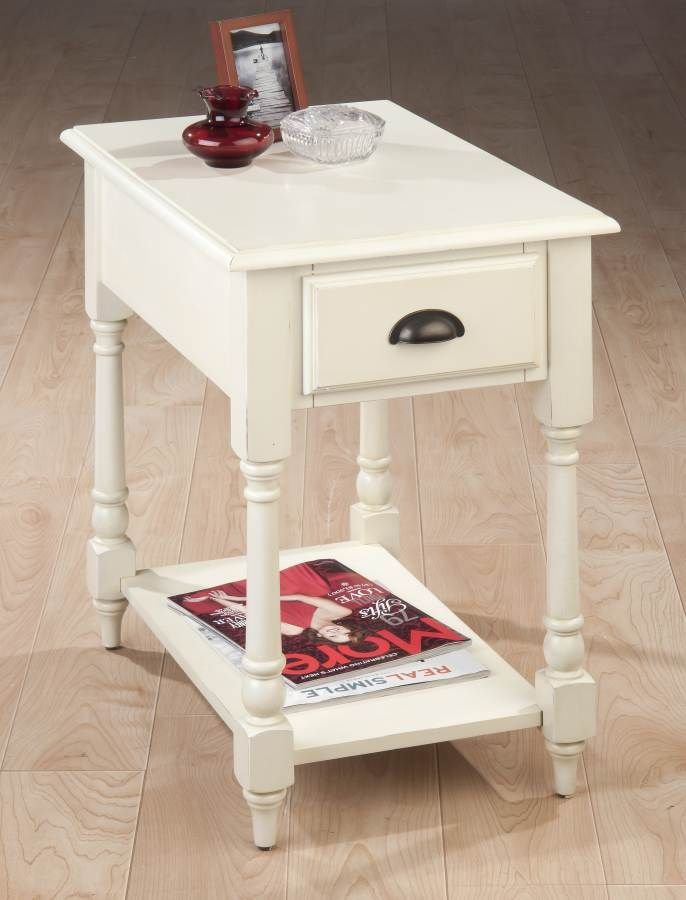 Jofran Antique White Chairside Table Table White