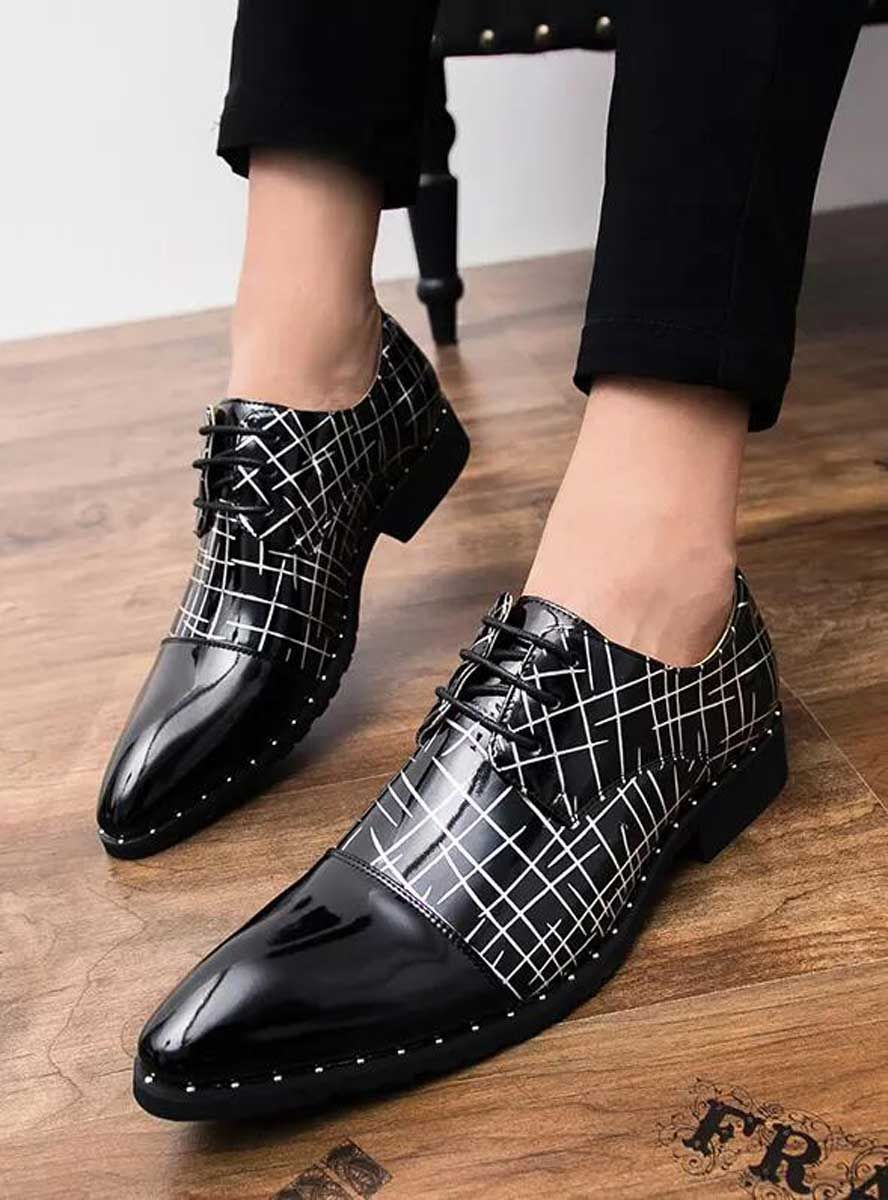 Black White Cross Stripe Patent Derby Dress Shoe Men S Dress Shoes