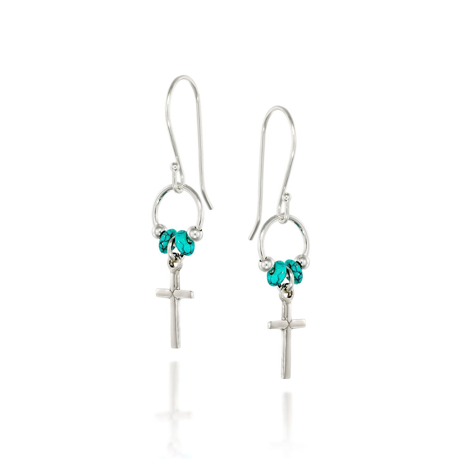 925 Sterling Silver Cross Earrings with Turquoise Beads Accents and ...