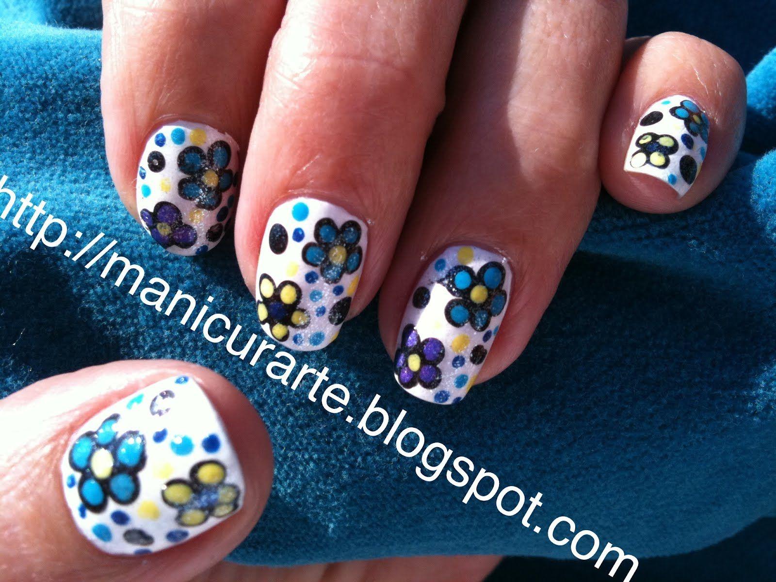 *MANICURARTE*: Blue flowers nails / manicura creativa con flores