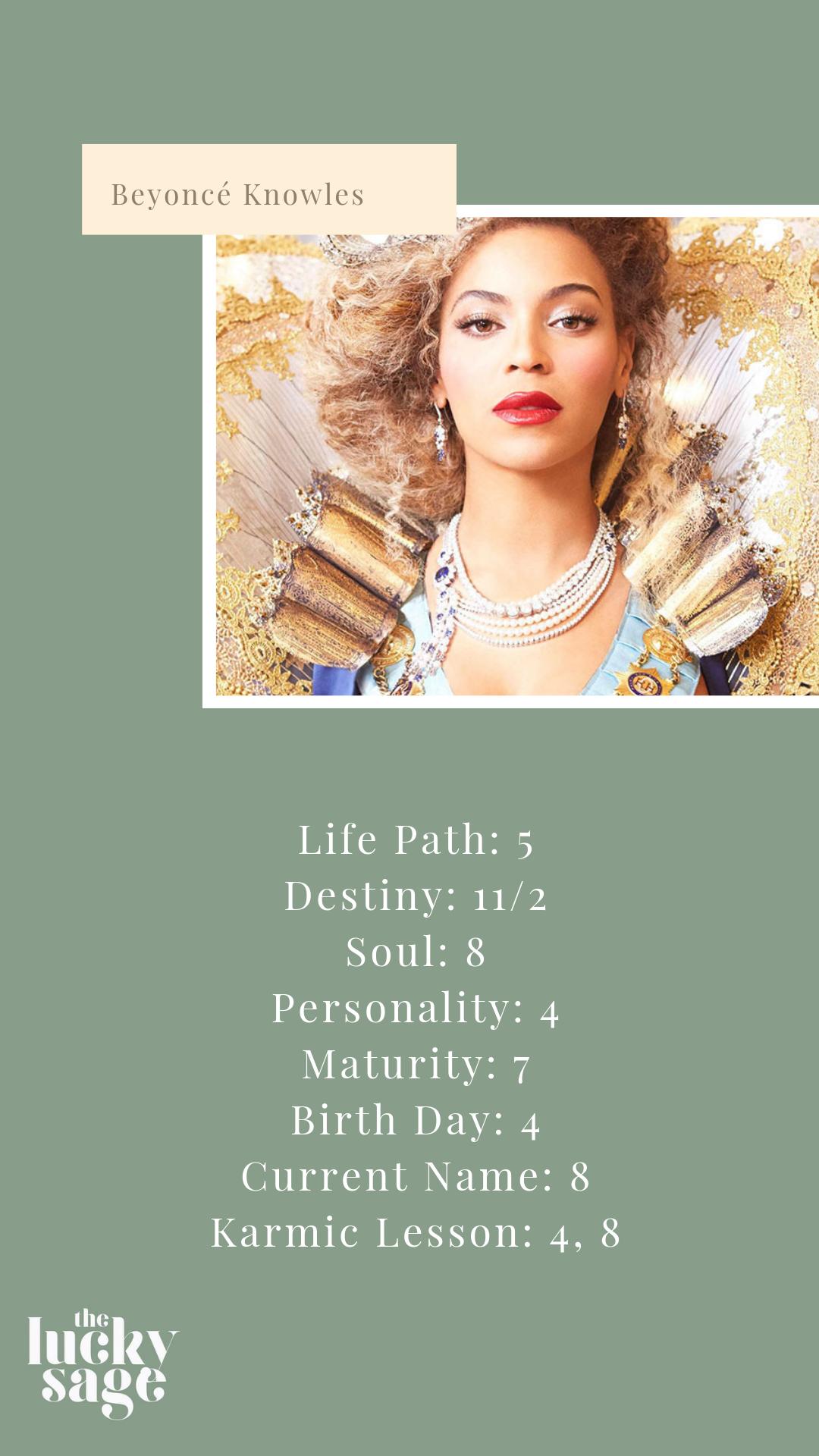 Beyoncé's Core Numerology Numbers   Life path 20, Life path ...
