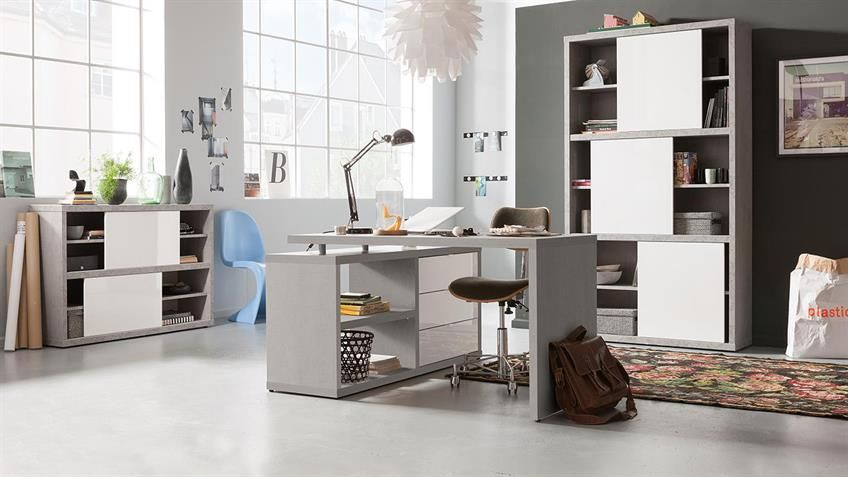 Büroset 2 PRACTICO Büromöbel in beton weiß Hochglanz Lack | Concrete ...