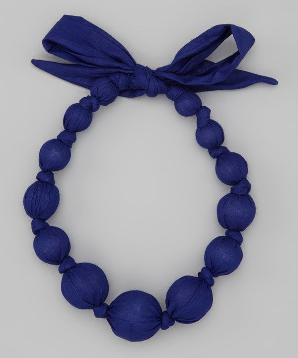 Look at this Royal Blue Wooden Bead Necklace on #zulily today!