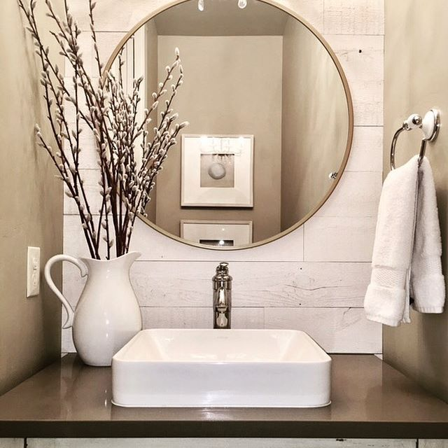 Neutral Powder Room Featuring Hamptons Thanks For Sharing