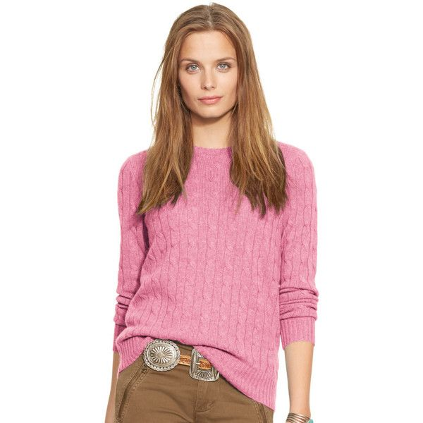 Ralph Lauren Polo Cable-Knit Cashmere Women\u0027s Sweater - Pink - Size Xl..