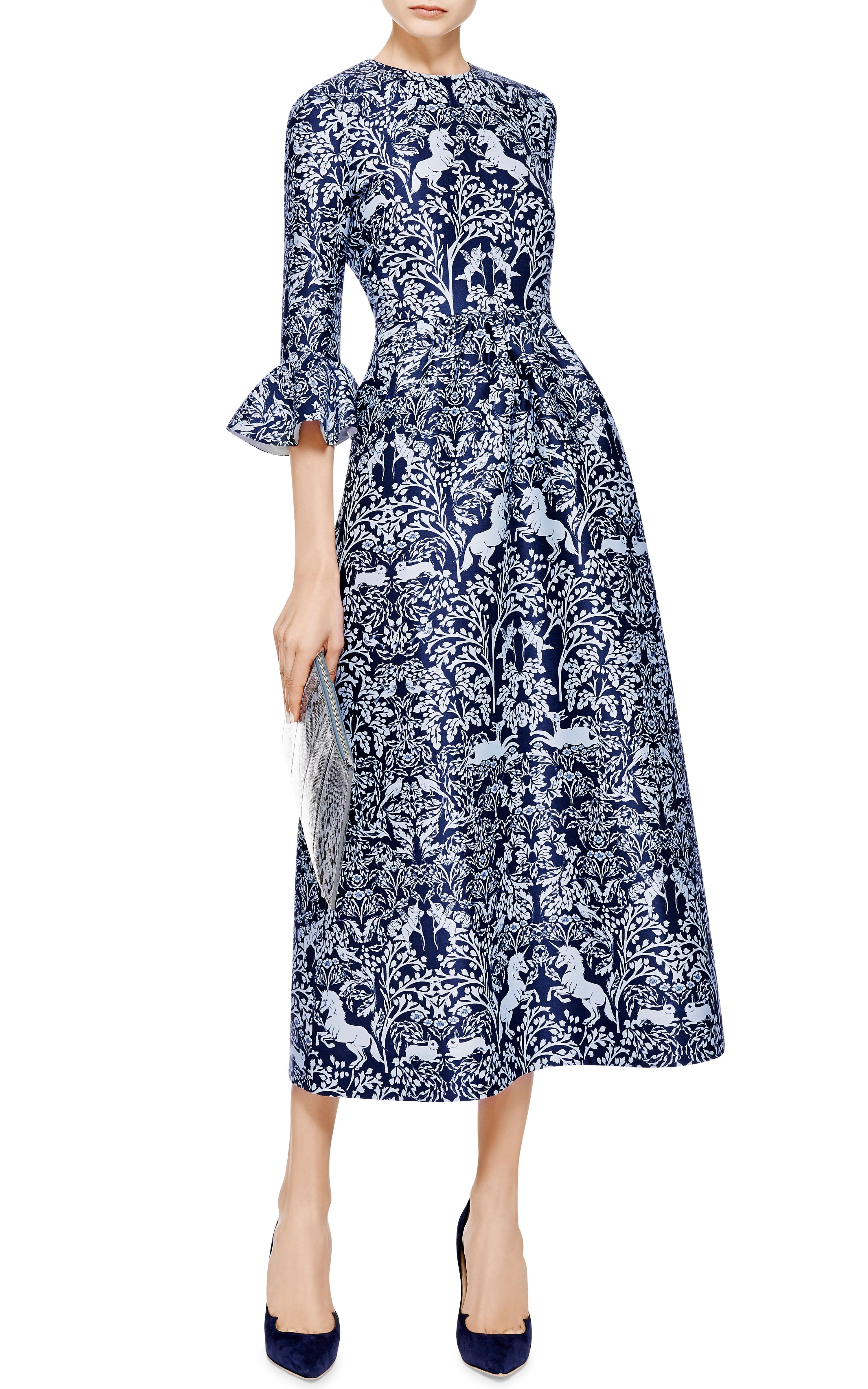 Lyra Printed Silk And Wool Blend Midi Dress By Mother Of Pearl Unicorn Blue Fl Baroque Print