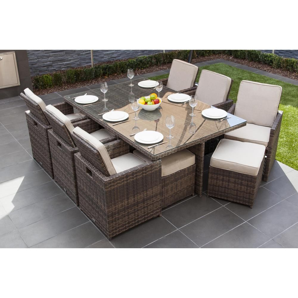 Direct Wicker Malta Variegated Brown 11 Piece Wicker Outdoor