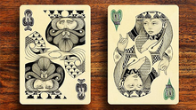 Limited-Edition of 2,500.Illustrated by hand in charcoal and ink, this unique deck features original suits, court cards, jokers and 2 bonus gaff cards. Printed in green, black and metallic silver inks